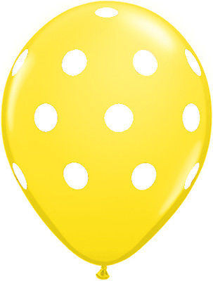 Qualatex Big Polka Dot Yellow Latex Balloons