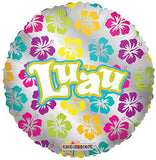 Luau Hibiscus Flowers Balloon Bouquet