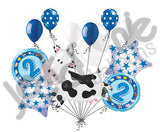Blue Farm Cow & Animals 2nd Birthday Balloon Bouquet