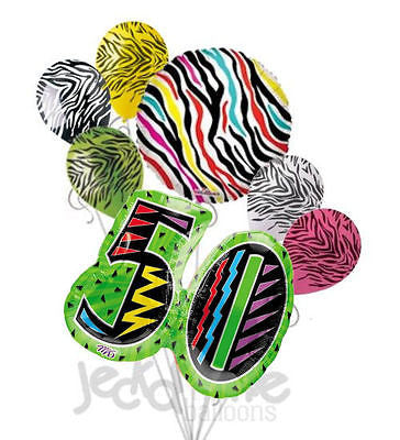 Wild at 50 Colorful Zebra Print Balloon Bouquet