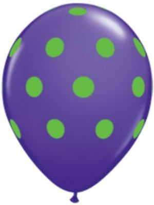 Qualatex Big Polka Dot Purple & Green Latex Balloons