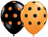 Qualatex Big Polka Dot Halloween Orange & Black Latex Balloons