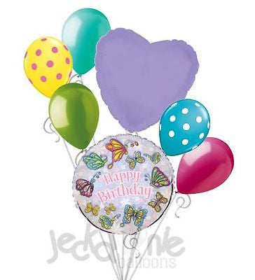 Lavender Fluttering Butterfies Happy Birthday Balloon Bouquet