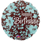 Happy Birthday Flowers Teal & Brown Balloon Bouquet