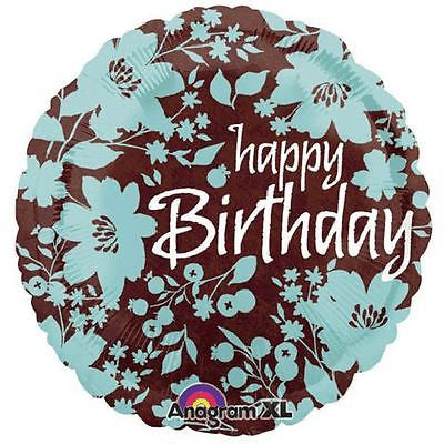 Happy Birthday Flowers Teal Amp Brown Balloon Bouquet