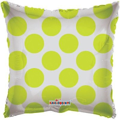 Lime Green Polka Dot Square Decorator Balloon