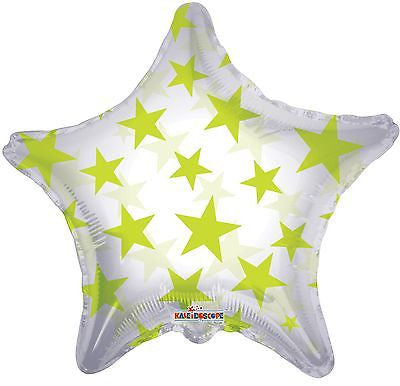 Lime Green Stars on Clear Star Decorator Balloon