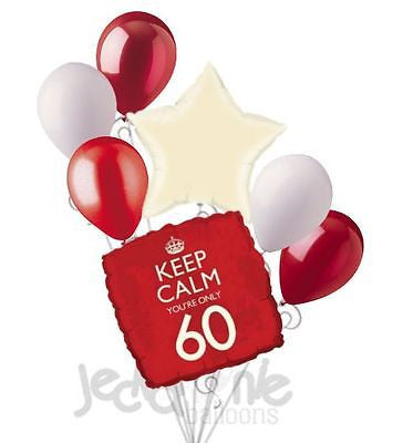 Red Keep Calm You're Only 60 Balloon Bouquet