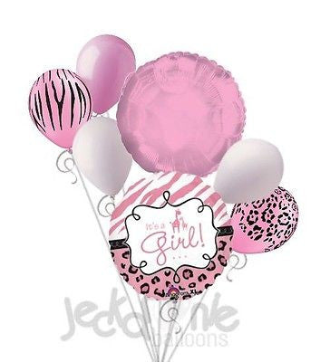 It's a Baby Girl Sweet Safari Balloon Bouquet