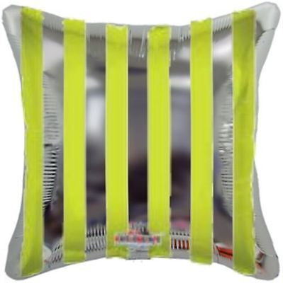 Lime Green & Silver Stripes Square Decorator Balloon