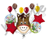 Hilarious Horse Barnyard Happy Birthday Balloon Bouquet