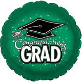 Green Congratulations Grad Round Balloon