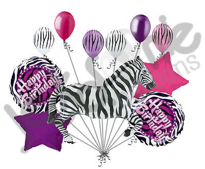 Purple Zebra Happy Birthday Balloon Bouquet