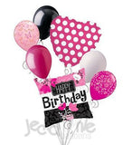 Pink Cherry Blossom Flowers Happy Birthday Balloon Bouquet