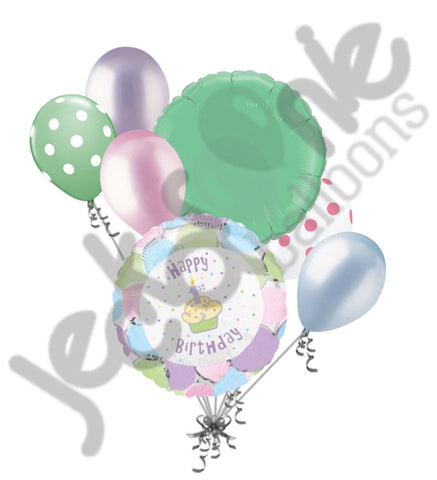 Happy 1st Birthday Cupcake Balloon Bouquet