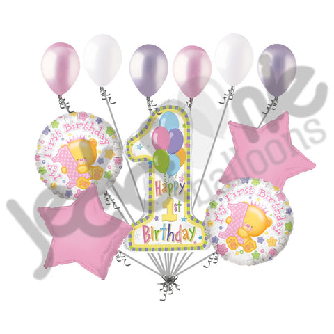 Happy 1st Birthday Princess Bear Balloon Bouquet Jeckaroonie Balloons