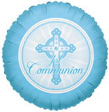 1st Communion Cross Blue Boy Balloon Bouquet
