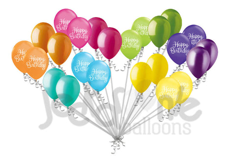 Bright & Colorful Happy Birthday Script Latex Balloons