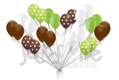 Modern Lime Green & Brown Polka Dot Latex Balloons