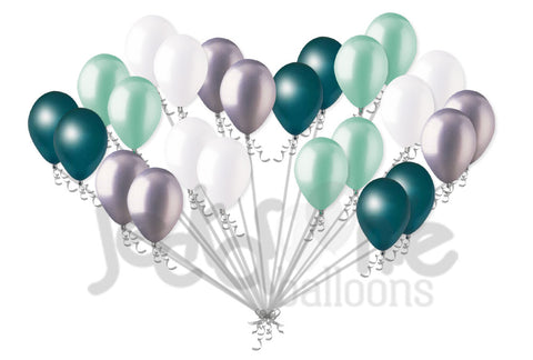 Pearl Teal, Mint, & White Latex Balloons