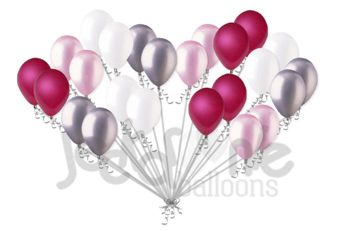 Pearl Magenta, Pink, White & Silver Latex Balloons