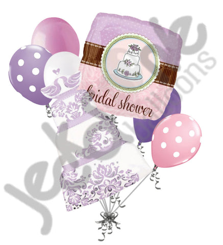 Bridal Shower Lavender & Whimsy Cake Balloon Bouquet