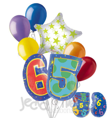 65th Birthday Themed Number Balloon Bouquet