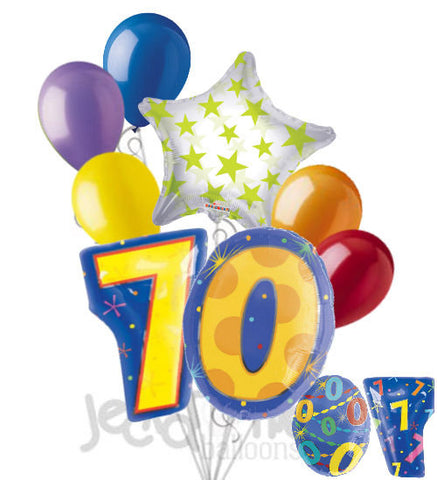 70th Birthday Themed Number Balloon Bouquet