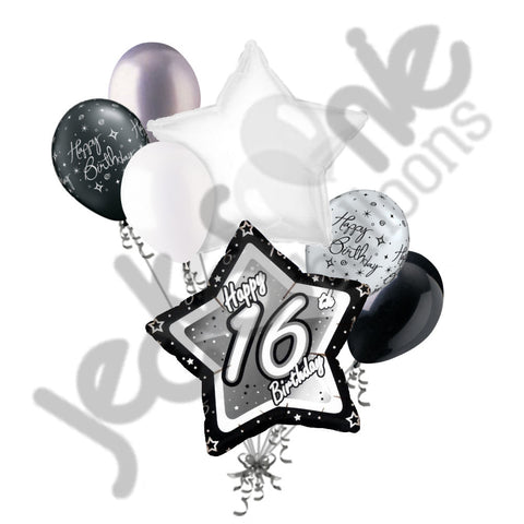 Elegant Star Happy 16th Birthday Balloon Bouquet