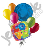 60's Feeling Groovy Tie-Dye Love Balloon Bouquet