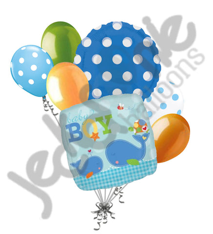 Ahoy Baby Boy Whale Balloon Bouquet