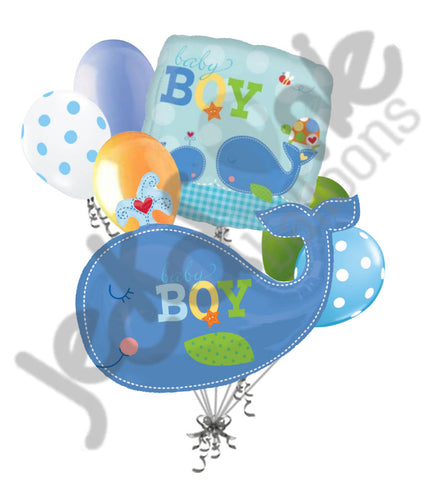 Ahoy Baby Boy Whale Balloon Decoration