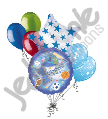 1st Happy Birthday All-Star Sports Baby Boy Balloon Bouquet