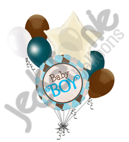 Baby Boy Argyle Balloon Bouquet