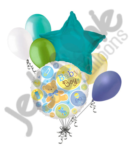 Baby Boy Bear & Things Balloon Bouquet