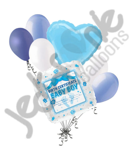 Baby Boy Birth Certificate Balloon Bouquet
