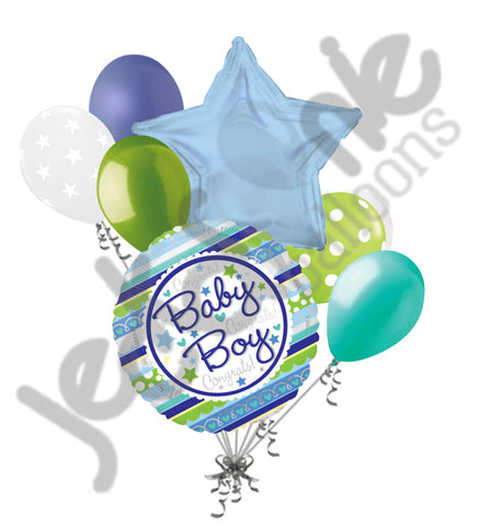 Baby Boy Stripes Balloon Bouquet