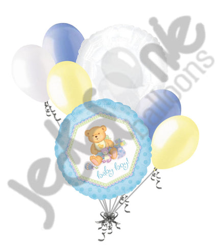 Baby Boy Delicate Teddy Bear Balloon Bouquet