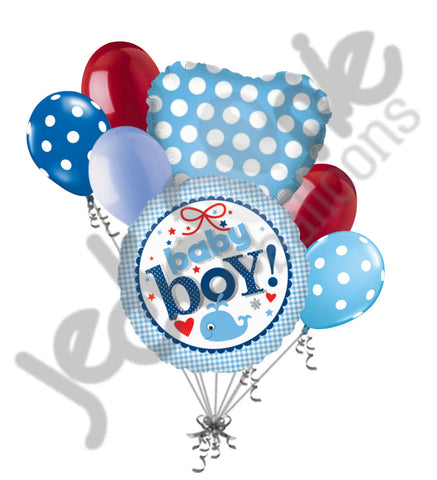 Baby Boy Gingham Whale Balloon Bouquet