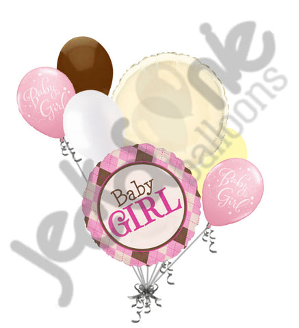 Baby Girl Argyle Balloon Bouquet
