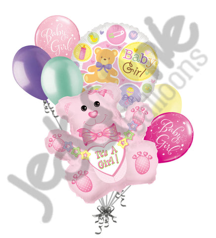 It's a Baby Girl Pink Bear Balloon Bouquet