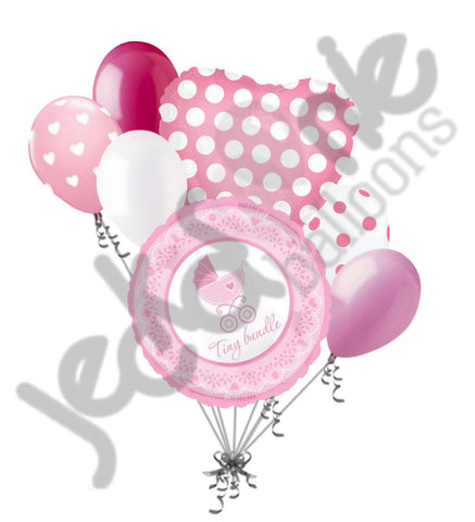 Baby Girl Tiny Bundle Buggy Balloon Bouquet
