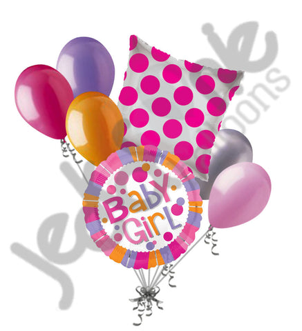 Baby Girl Colorful Stripes & Dots Balloon Bouquet