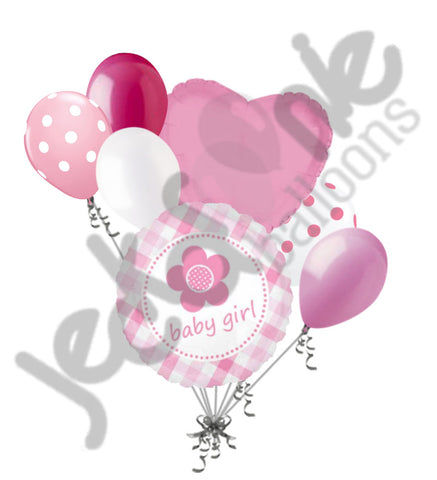Baby Girl Daisy Plaid Balloon Bouquet