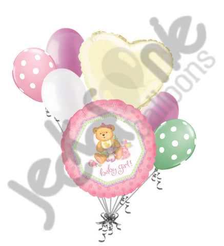 Baby Girl Delicate Teddy Bear Balloon Bouquet
