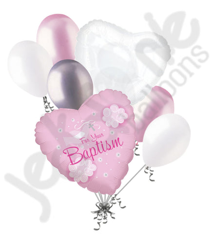 For Your Baptism Pink Dove Balloon Bouquet
