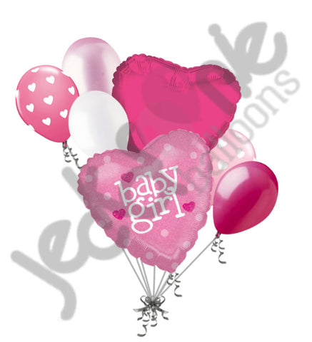 Baby Girl Holographic Pink Hearts Balloon Bouquet