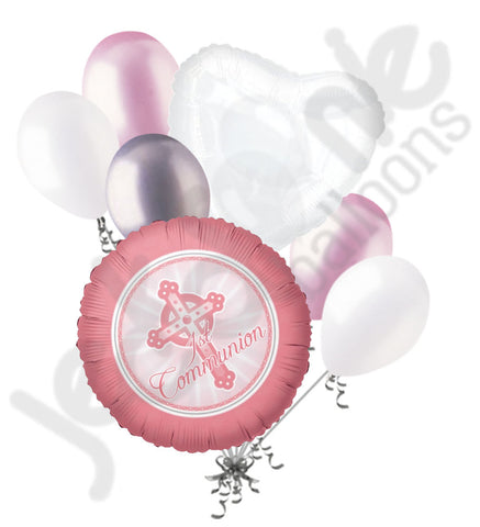 1st Communion Cross Pink Girl Balloon Bouquet