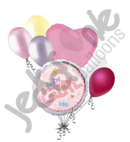 Baby Girl Pink Butterflies Balloon Bouquet
