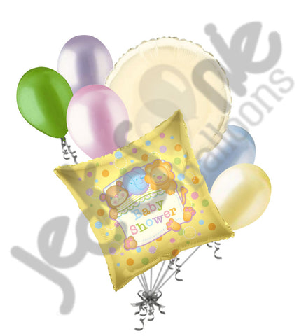 Cuddle Animals Baby Shower Gender Neutral Balloon Bouquet